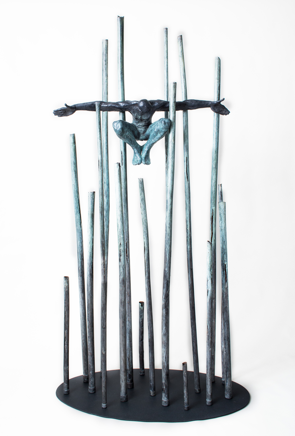 "Conjuror,  2013,   80 x 41 x 23""    Bronze, copper, and steel"