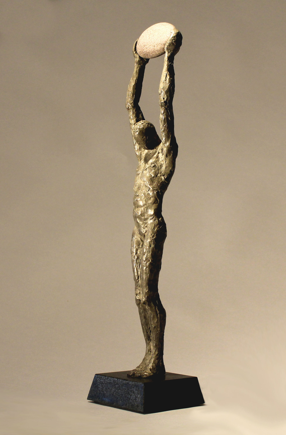 "The Messenger,  2012,   18 x 4 x 4""    Bronze and stone"