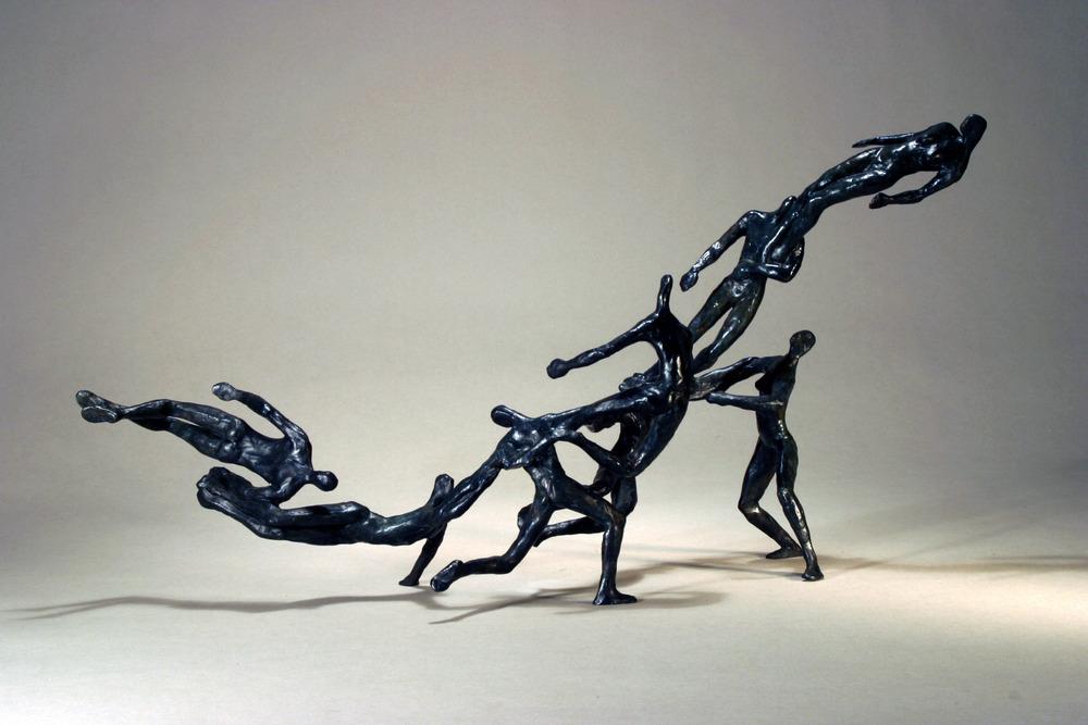 "Transients, 2004,  11 x 22 x 8""    Bronze"