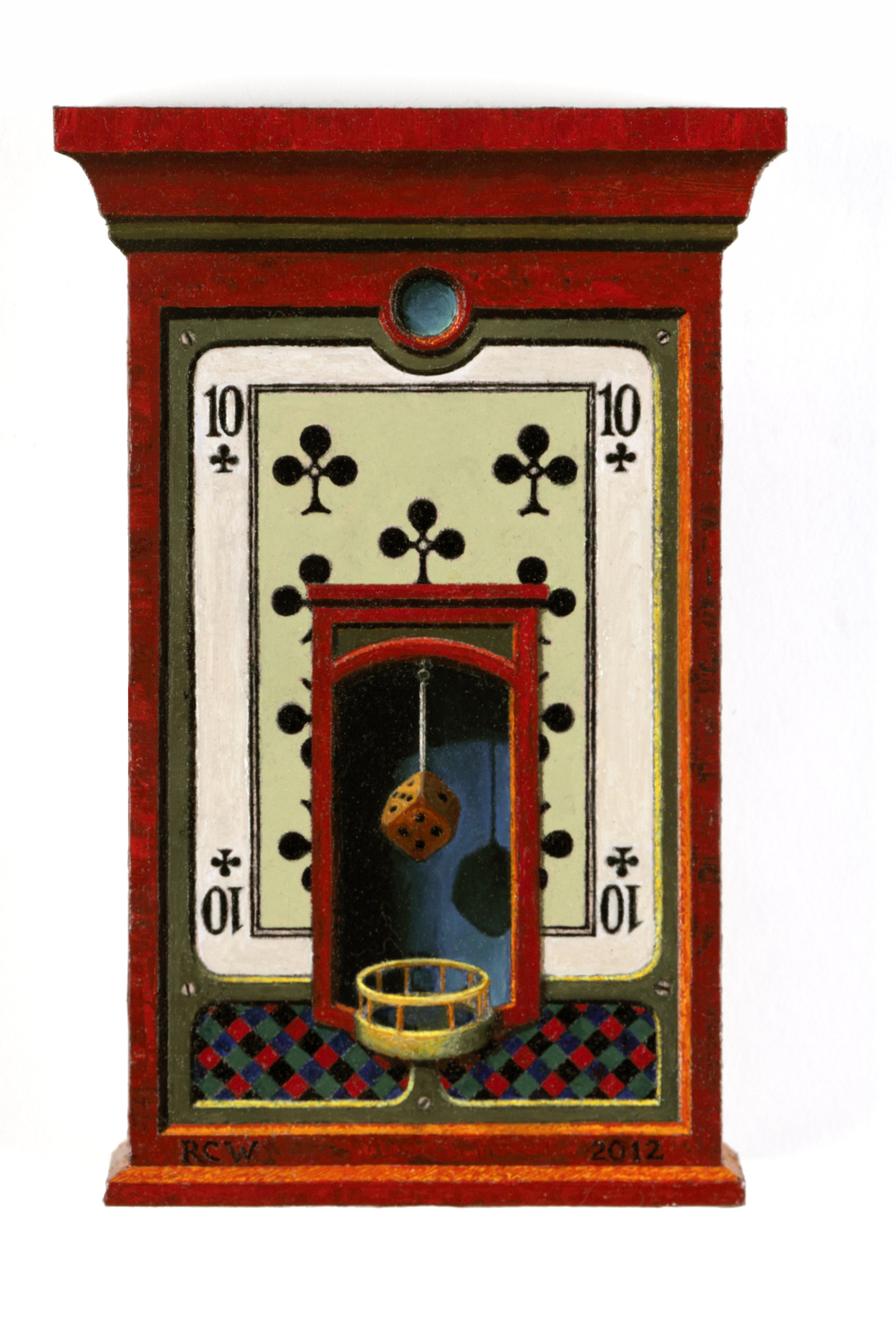 """Dix de Trèfles"" (ten of clubs)            Richard Whitten, 2012        oil on wood panel        6"" x 4"""