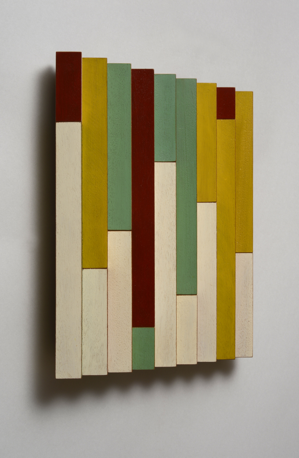 "Candy Skyscrapers (Left)  Emi Ozawa, 2014  Acrylic on Mahogany  10 1/2""H x 10 1/4""W x 1 1/2""D"