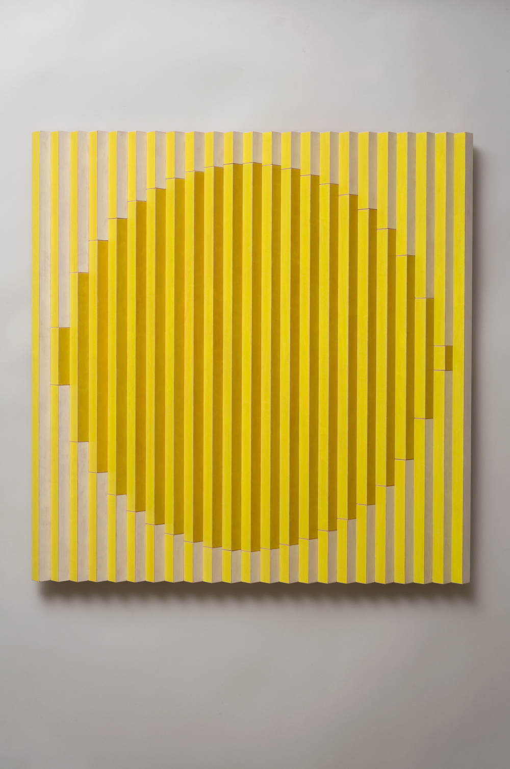 "Sol (Center)  Emi Ozawa, 2013   Acrylic paint on Maple   25 5/8""H x 25 1/4""W x1 1/2""D"