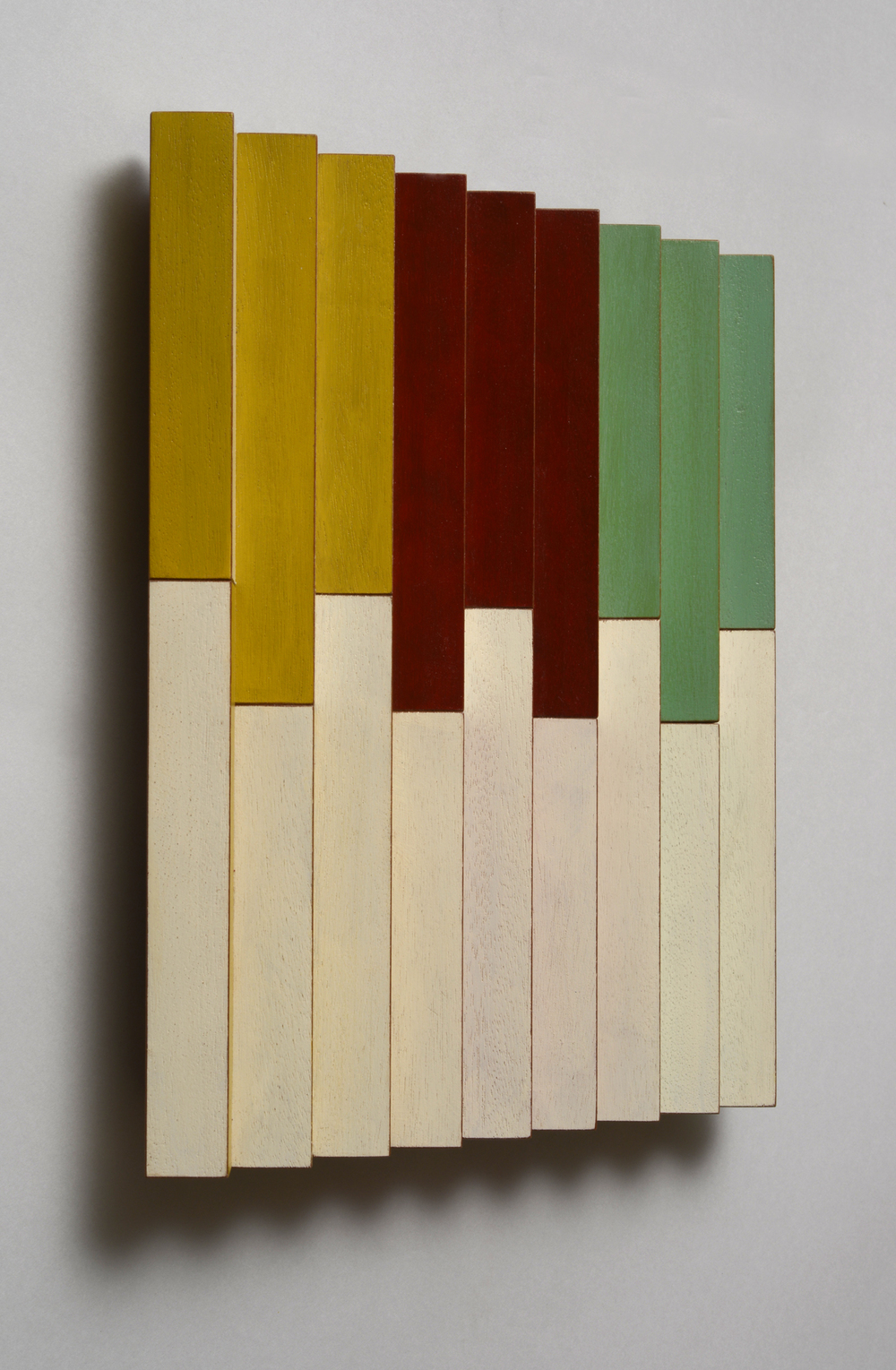 "Evenly Uneven (Left)  Emi Ozawa, 2014  Acrylic on Mahogany  10 1/2""H x10 1/4""W x 1 1/2""D"