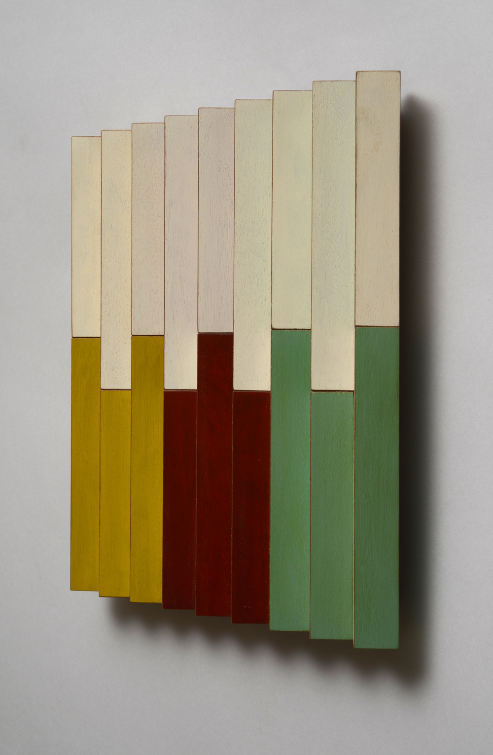 "Evenly Uneven (Right)  Emi Ozawa, 2014  Acrylic on Mahogany  10 1/2""H x10 1/4""W x 1 1/2""D"