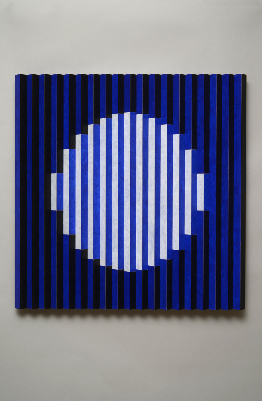 "Once in a Blue Moon (Center)  Emi Ozawa, 2014  Acrylic paint on Poplar  25 5/5""H x 25 1/4""W x 1 1/2""D"
