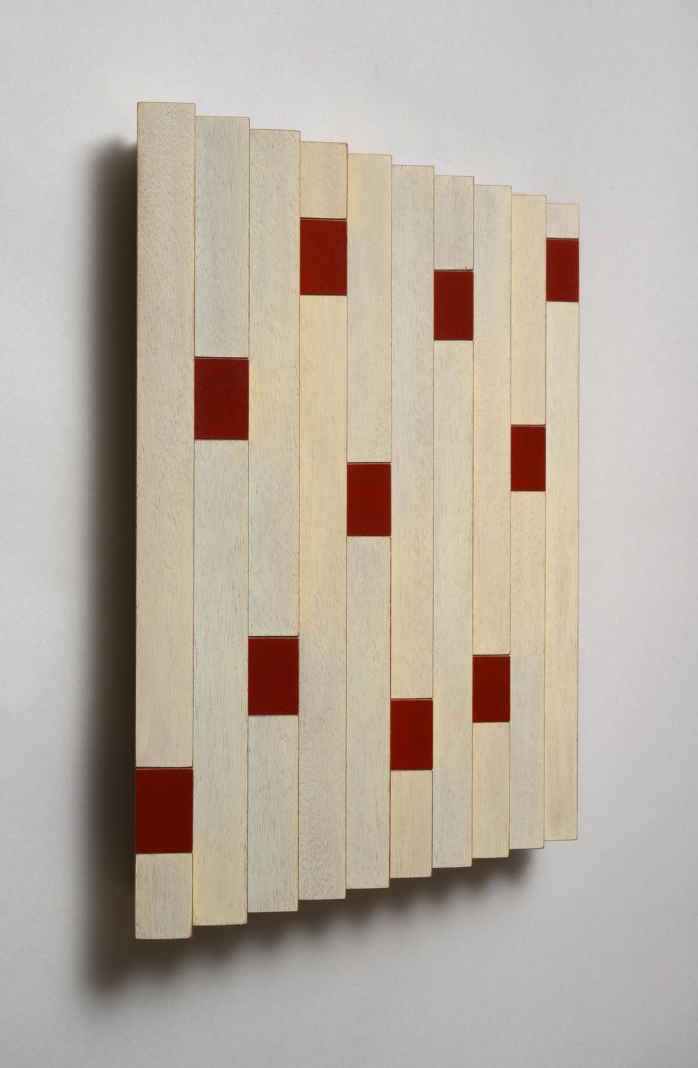 "Signals (Left)  Emi Ozawa, 2014  Acrylic on Mahogany  11 7/8""H x 11 5/8""W x 1 1/2""D"
