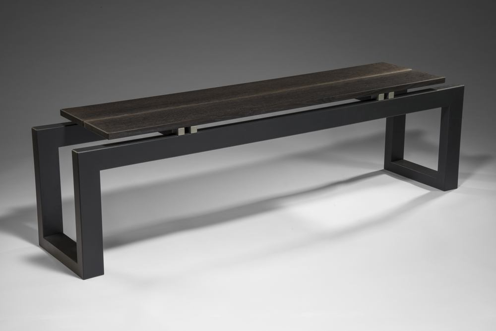 """Varenna Bench #3    Gail Fredell,   2014    17"" high x 13"" wide x 59-1/2"" long    White oak, blackened cherry, paint detail"