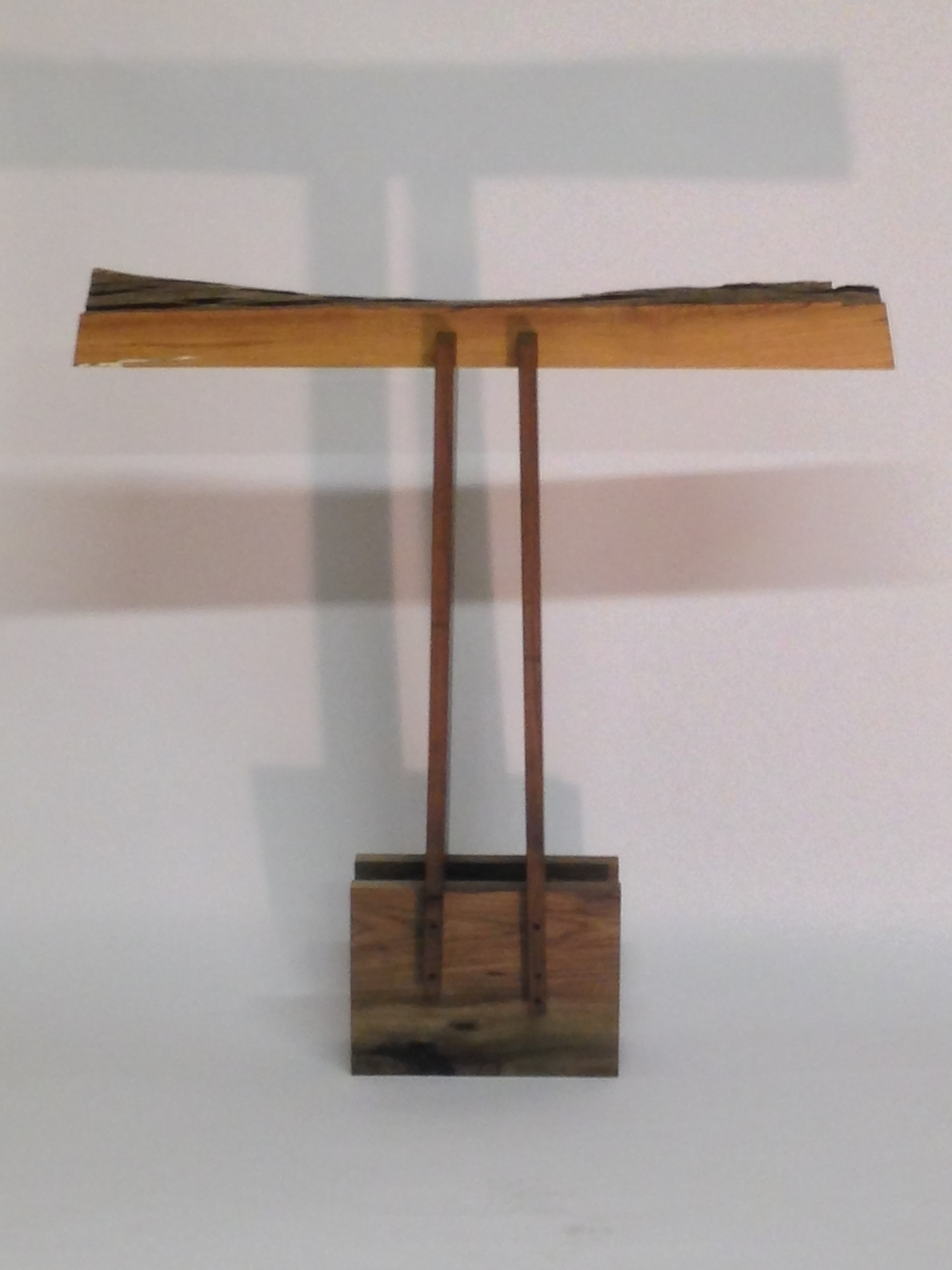 """What Not?""     Gail Fredell,   2013    40""high x 8-1/2"" wide x 38"" long    White oak, walnut"