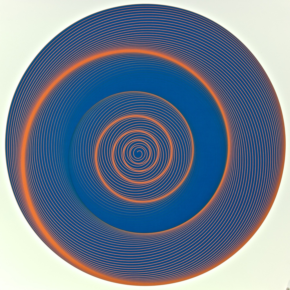 "Metagonal Disks ~67~ Blue Violet with Chinese Vermilion/Blue Violet Gradients Curve , 2014    Digital drawing, inkjet pigments    Art : 23"" x 23"" (58.5x58.5 cm)    Paper: 25"" x 24"" Epson UltraSmooth Fine Art Paper"