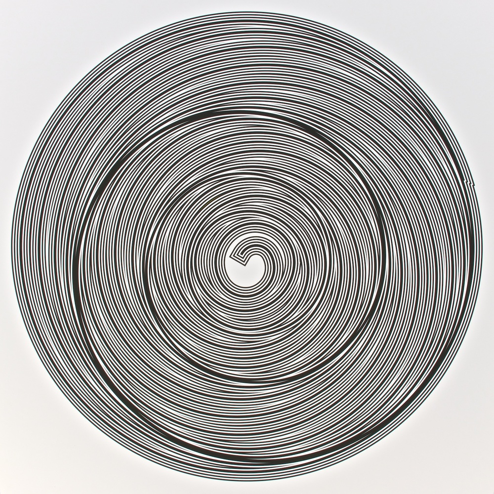 "Metagonal Variation 15f ~27~ Central Black Curve Over Composite Black & White Curve  , 2013    Digital drawing, inkjet pigments    Art: 22.5"" x 22.5"" (57x57 cm)    Paper: 25"" x 24"" Epson UltraSmooth Fine Art Paper"