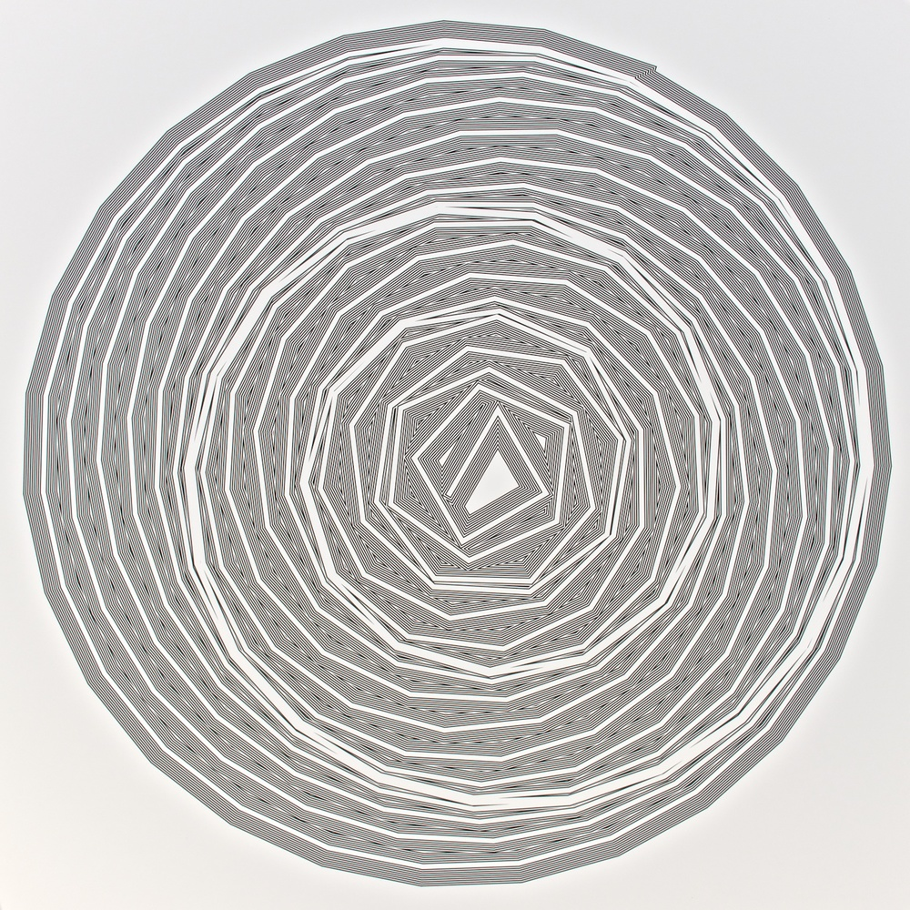 "Metagonal Variation 16ca ~27~ Central White Line Over Composite Black and White Line , 2013     Digital drawing, inkjet pigments    Art : 22.25"" x 22.25"" (56x56 cm)    Paper : 25"" x 24"" Epson UltraSmooth Fine Art Paper"