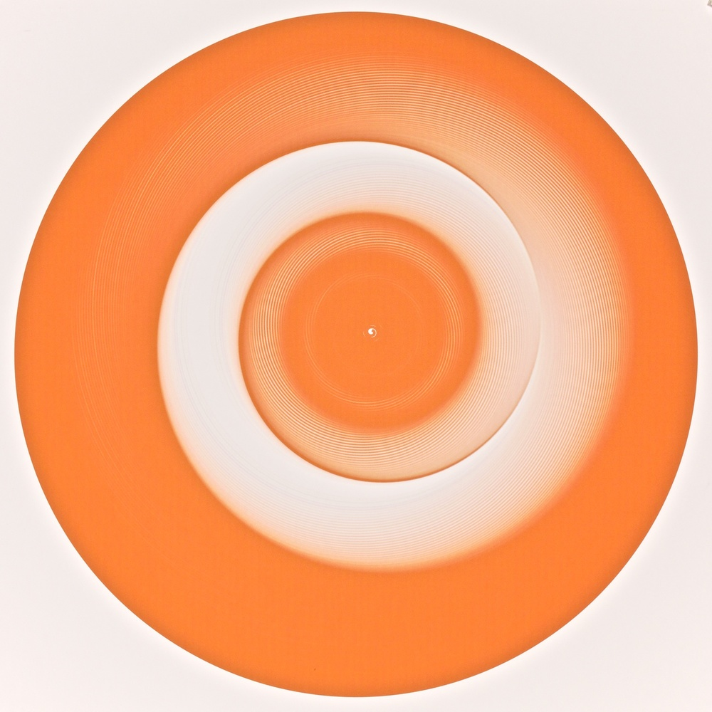 "Metagonal Disks ~255~ Chinese Orange/White Gradients , 2014    Digital drawing, inkjet pigments    Art: 22.75"" x 22.75"" (58x58 cm)    Paper: 24"" x 24"" Epson UltraSmooth Fine Art Paper"