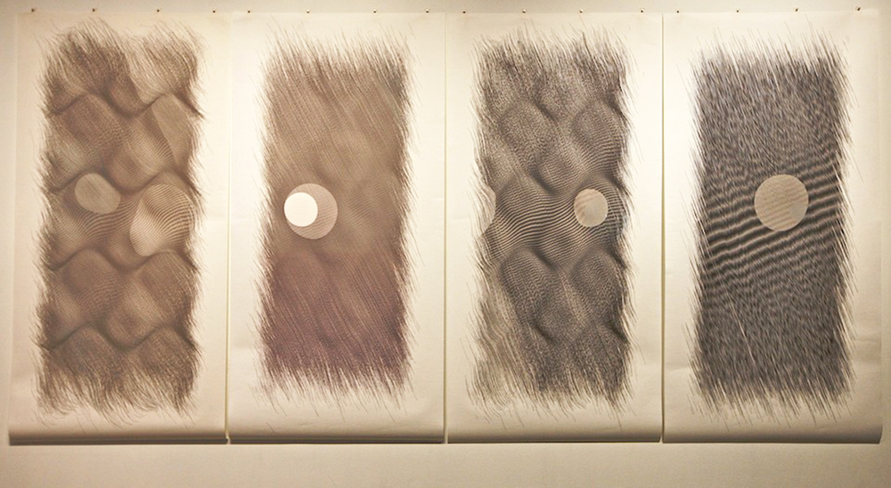 "Wavelets    Ink on paper - pen plotter drawing    Art : 76""x152"" total (4 panels 76""x38"" each)    Paper : Torinoko"