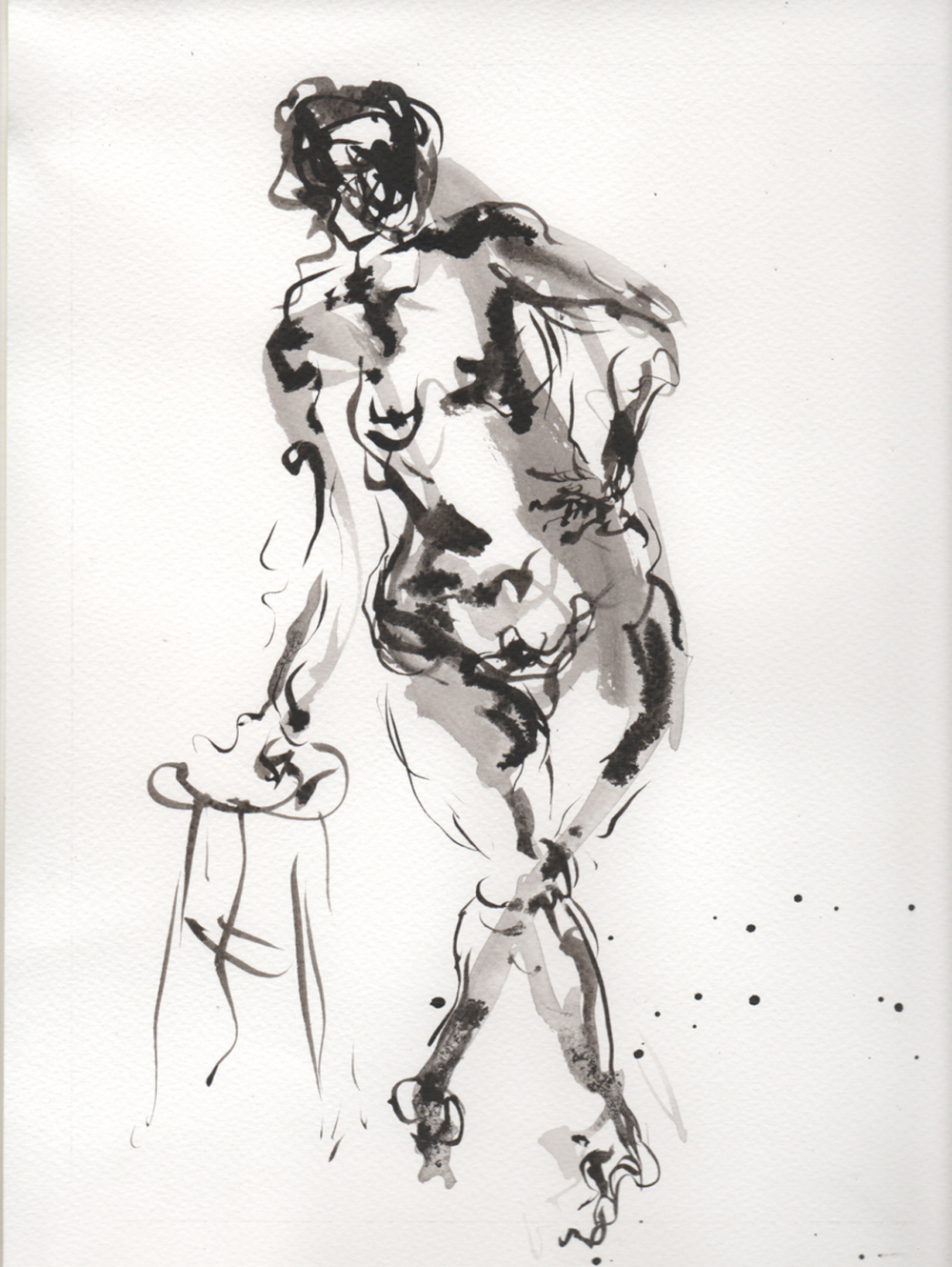 2014-0709-Ink Brush on watercolor Paper 8 x 11 Standing Nude Leaning on Stool 300dpi.jpg