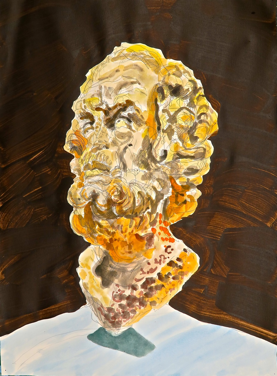 "Bust-ed Homer      2015     30""x22"" watercolor, acrylic, on paper"