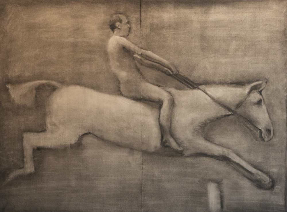 "Pandora Jumping a Hurdle     Andrew Nixon, 2015    39"" x 52,""                 oil stick on paper mounted on board"
