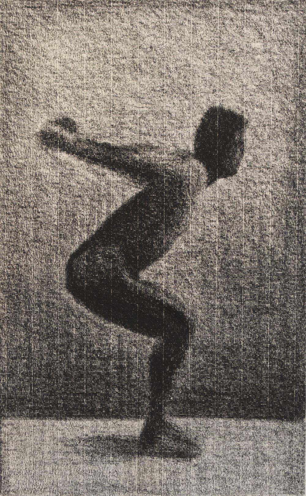 "Jump     Andrew Nixon,2014    18"" x 12,""     conte on paper"