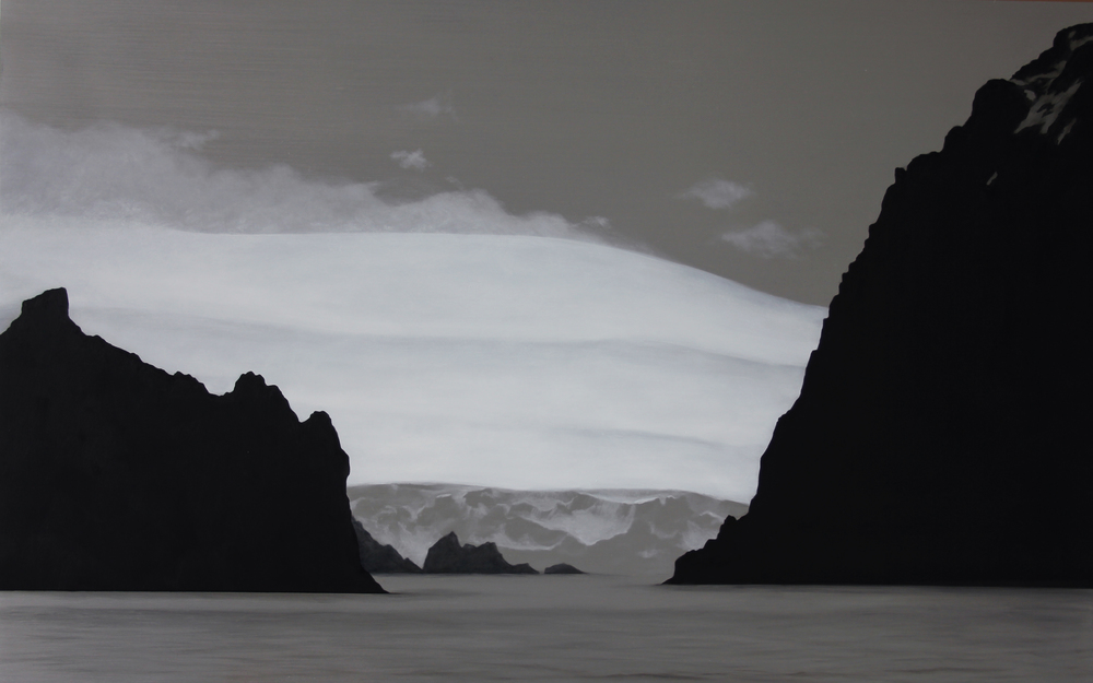 "Antarctic Islands and Glacier | 2012 | Oil on aluminum | 25"" x 40"" 