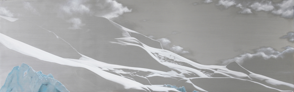 "Paradise Bay Coast | 2012 | oil on aluminum | 25"" x 80"" 