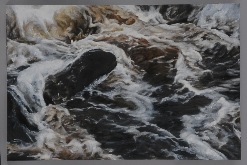 "Small Herring Run  2014  28"" H x 42"" W  oil paint on gesso board"