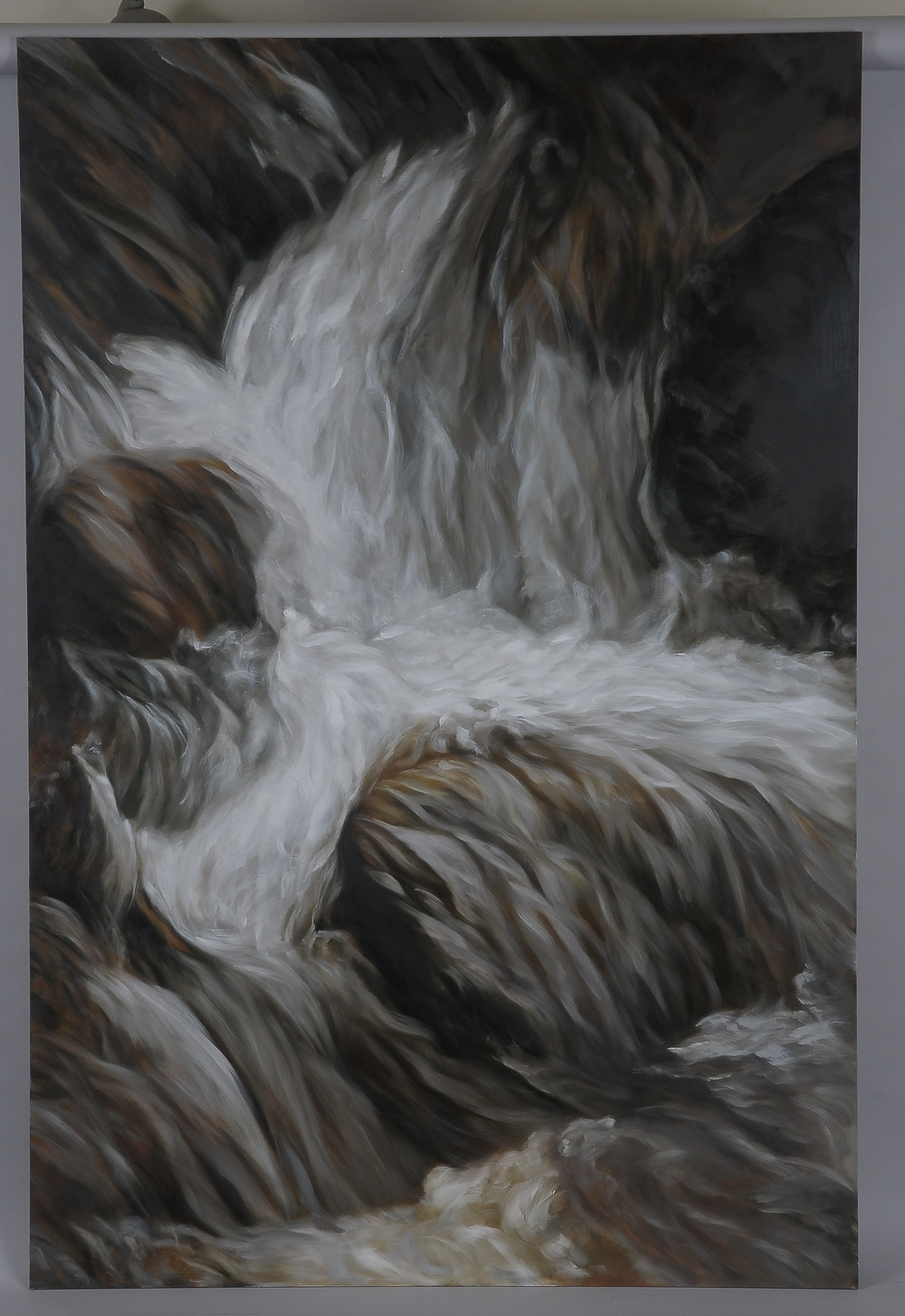 "Montana Waterfall  2014  63"" H x 42"" W  oil paint on gesso board"