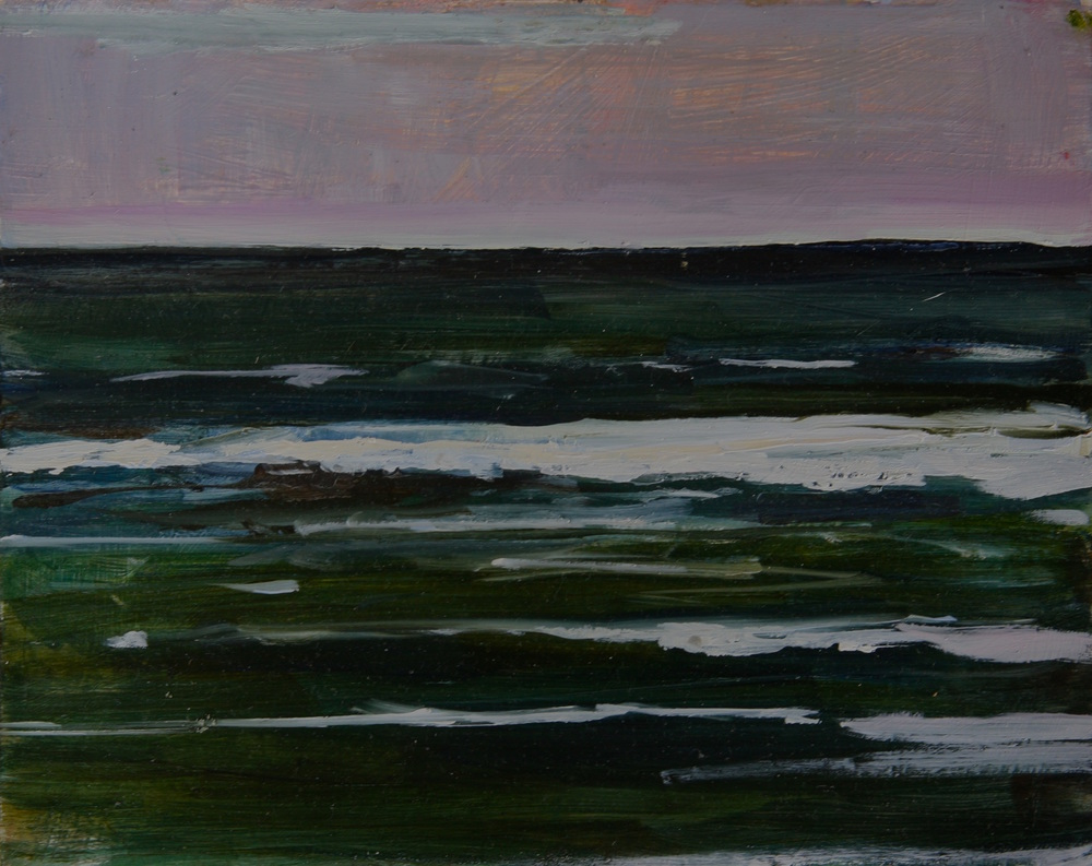 "Green Waves, Pacific, and then China, to the West , Oil on board, 8"" x 10""  $1100.00"
