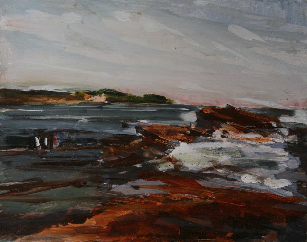 "Fishermen in Brito, Location of 1000-meter Wharf , Oil on board, 8"" x 10""  Sold"