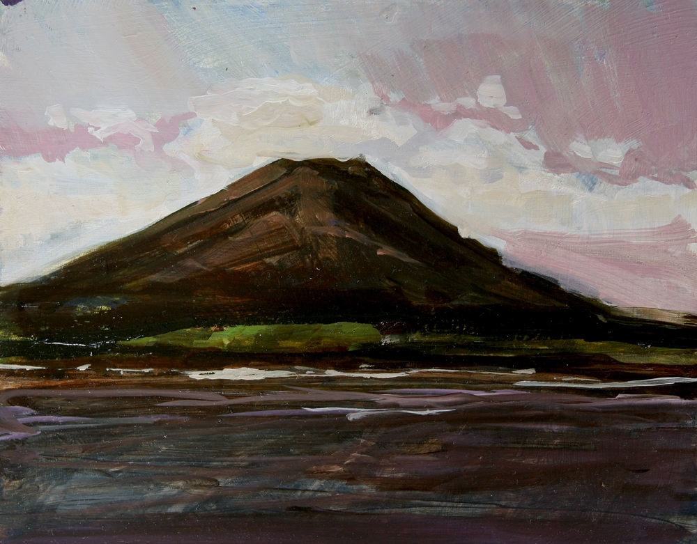 "Water, Volcano,  Oil on board, 8"" x 10""  $1100.00"