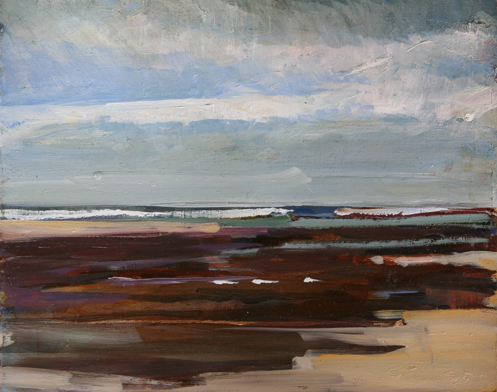 "Midmorning in Brito, At the Head of the Estuary , Oil on board, 8"" x 10""  $1100.00"