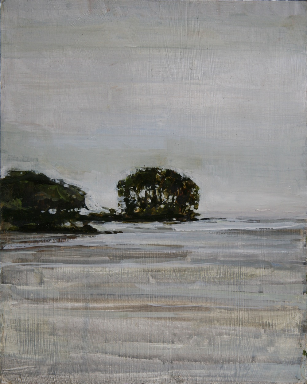 "Gray Day on Ometepe; Dredging Area Just Beyond,  Oil on board,  8"" x 10""  Sold"