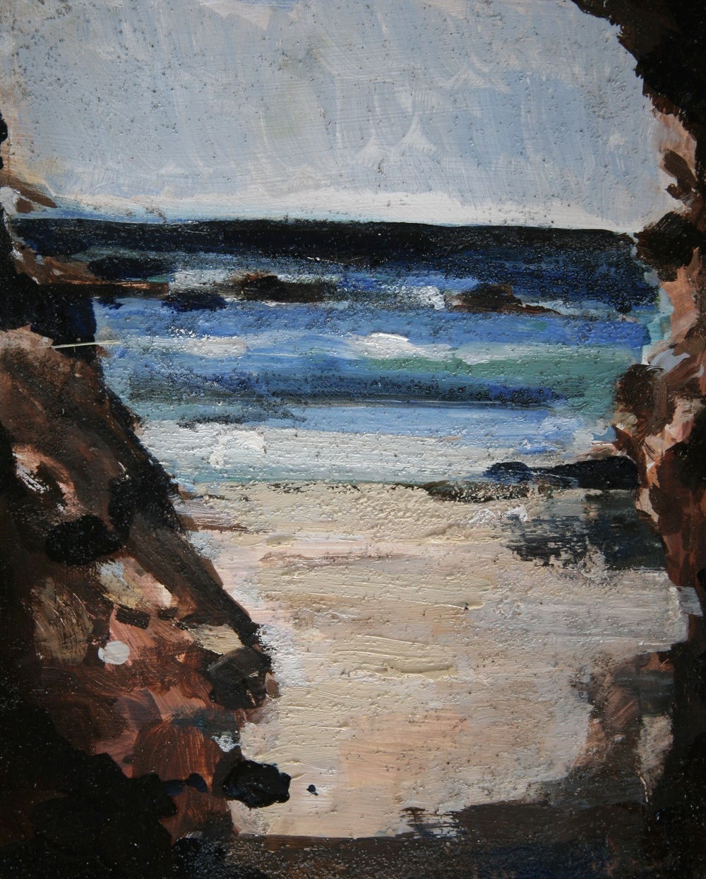 "From a Cave in Brito; The Exact Place where the Canal Will Begin,  Oil on board, 10"" x 8""   Sold  While I was painting this, a swarm of bees attacked me.  I swam out into the waves—pallet, brushes and all in hand—to get away. The sand embedded in the paint here is from leaving the easel while I tried to drown the bees. A gust of wind came, and knocked the painting onto the beach.  The bees stung me all over."
