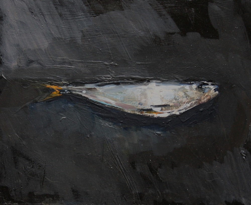 "Sardine #1, Brito , Oil on board, 8"" x 10""  Sold  The fisherman—Lari Reyes—who caught this sardine will not be able to fish here anymore. The rocks where he stood, and on which the fish lies, will be the site of the fuel jetty. I slept in a hammock in Lari's house for days, painting the ocean and the beach."