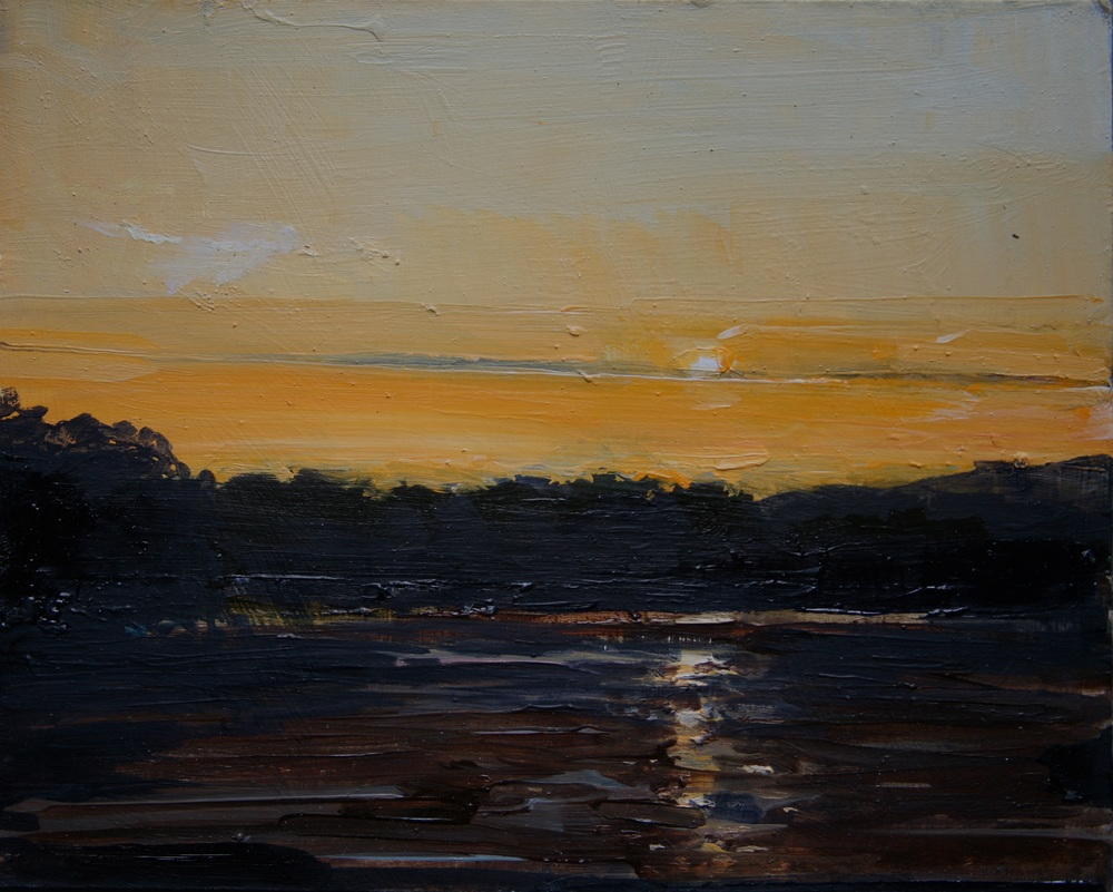 "Estuary at Sunrise; Fuel Jetty and Wharf to be Here , Oil on board, 8"" x 10""  Sold"