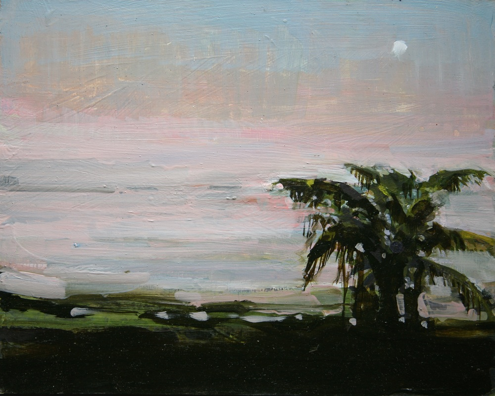 "Ometepe Island, Looking South to Dredging Area , Oil on board, 8"" x 10""  Sold"