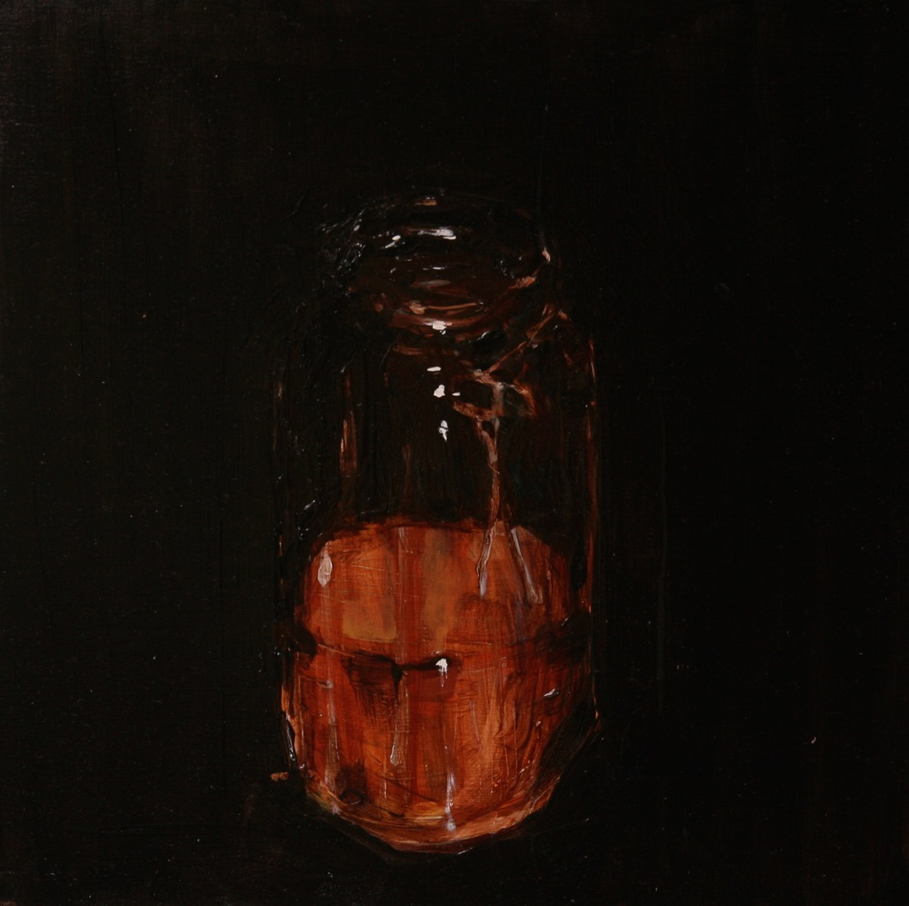 "Honey, Winter, Iowa,  Oil on board, 12"" x 12""  Sold"
