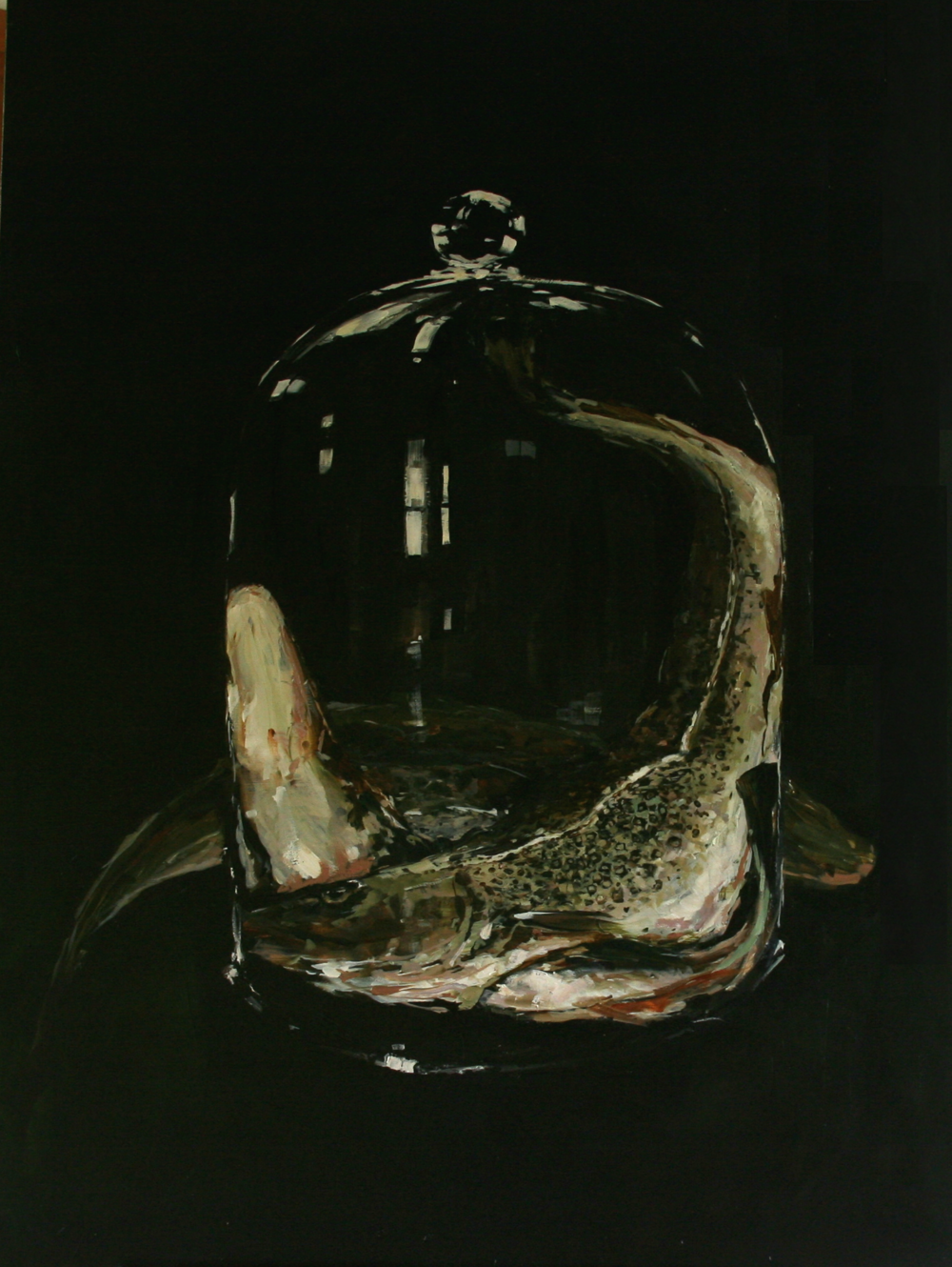 "Untitled #3 (Three Cod),  Oil on board, 48"" x 36""  Sold"