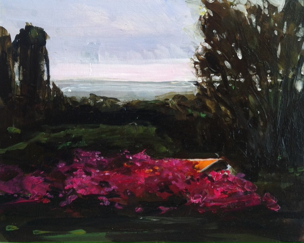 "Bougainvillia on Farmer's House, Ometepe,  Oil on board, 8"" x 10""   Sold  Like many of the people who introduced themselves to me and then watched me paint, the farmer who worked here said he opposed the canal.  It will be bad for the Lake, he said."