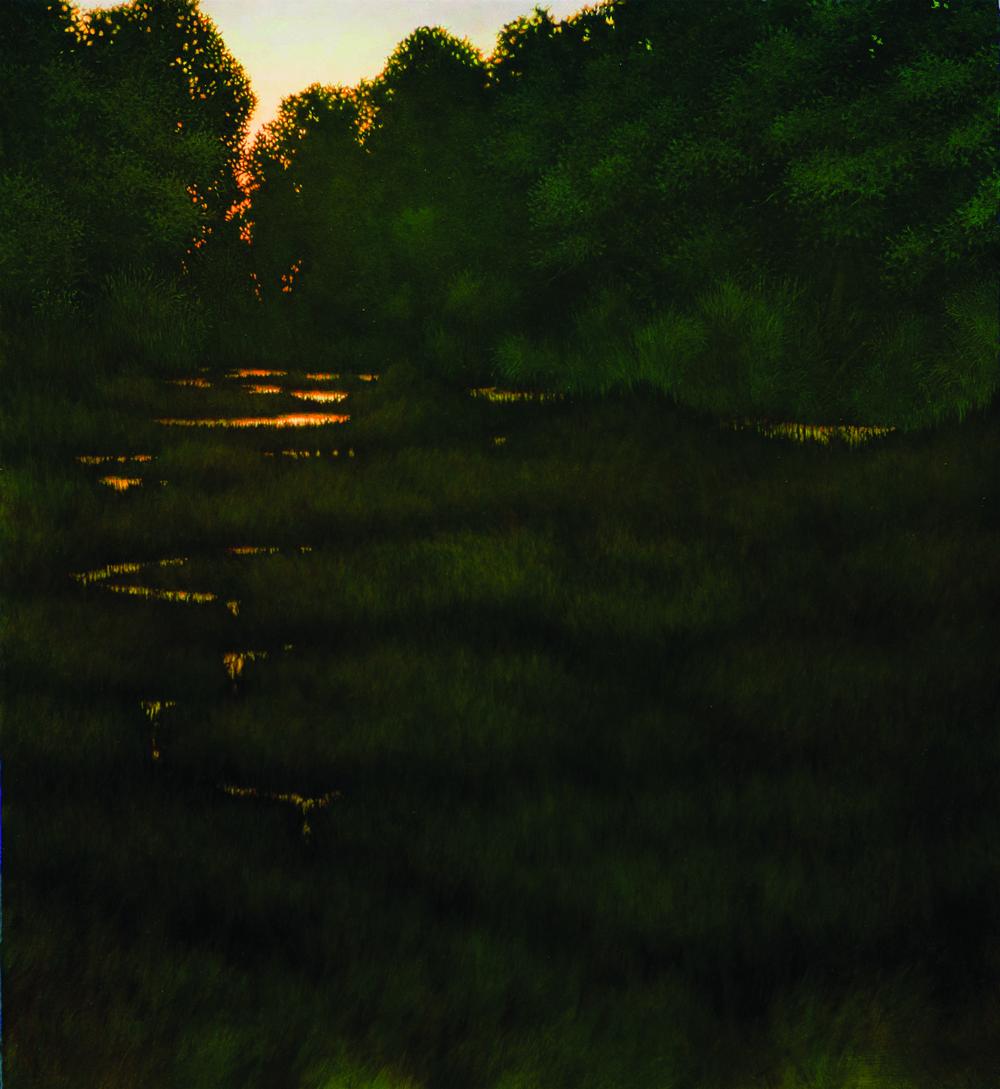 "Dusk, oil on panel, 40"" x 36""  12,000"