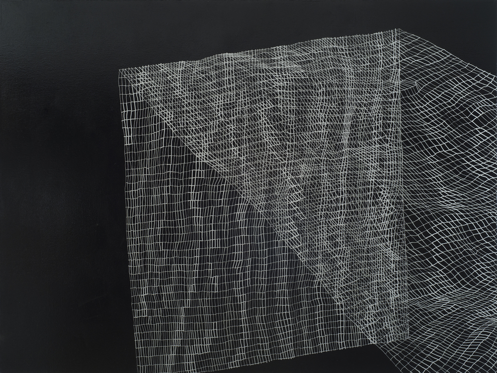 Caroline Burton   Untitled (10) , 2009  Silver ink and acrylic on canvas  36 x 48""
