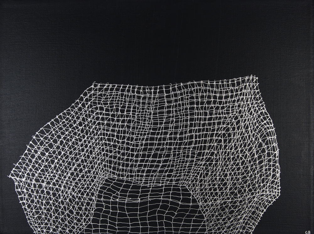 "Caroline Burton   Untitled (Rabbit cage 2) , 2008  Silver ink and acrylic on canvas  12"" x 16"""