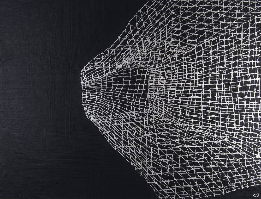 "Caroline Burton   Untitled (Rabbit cage 3) , 2008  Silver ink and acrylic on canvas  9.5"" x 12.5"""