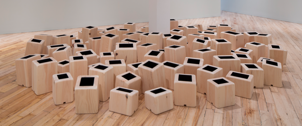 Greg Mencoff   What We Carry , 2014   Pine, graphite  Dimensions variable  picture courtesy of the artist and  Carol and Sons