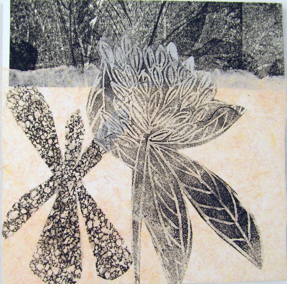 Apart of a series of monoprints, linoleum cuts, and chine-collé prints on vellum and handmade paper.  $475