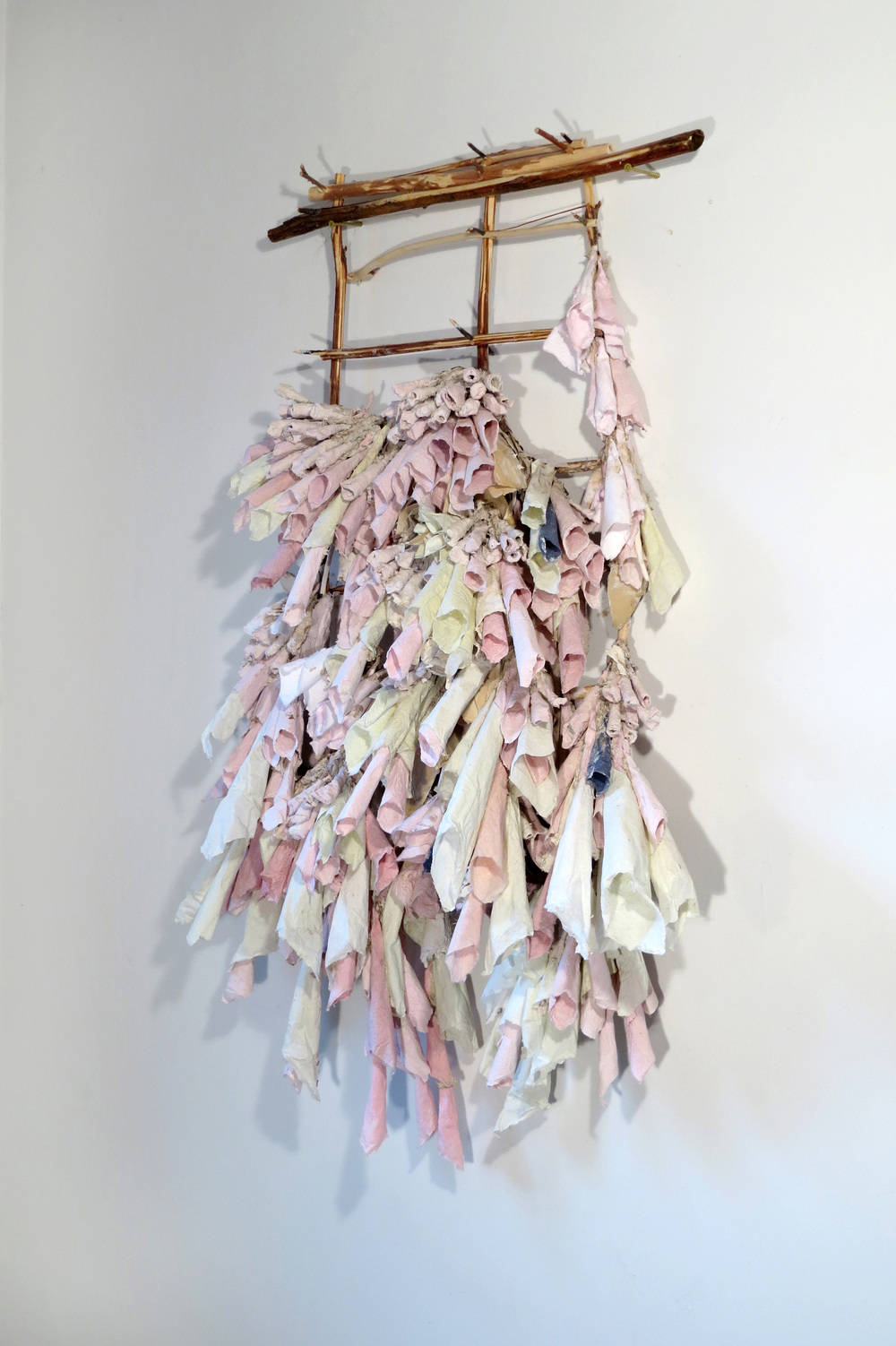 "Droop Little Pink, 2015  Porcelain paper clay, handmade paper, organic material  40"" x 26"" x 8""  $4000"