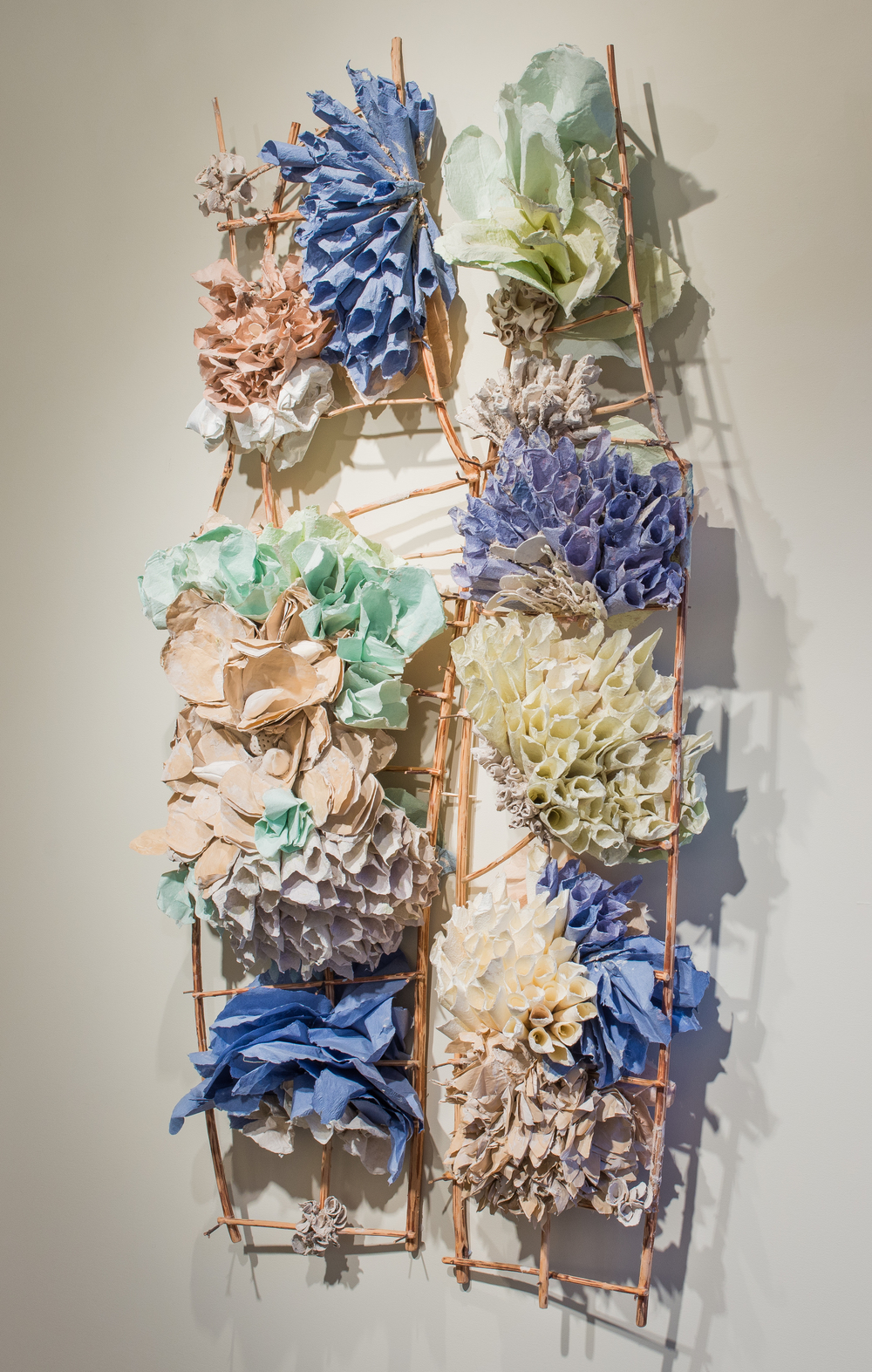 "Bi-Fold Purple, 2014  Porcelain paper clay, handmade paper, organic material  65"" x 35"" x 13""  $6500"