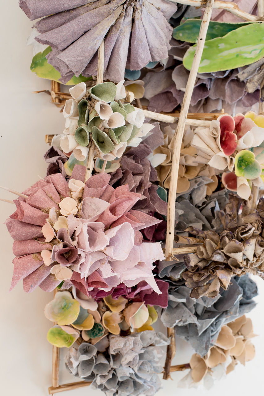 "Magenta Burst (detail), 2016  Porcelain paper clay, handmade paper, organic material  47"" x 27"" x 15""  $4000"