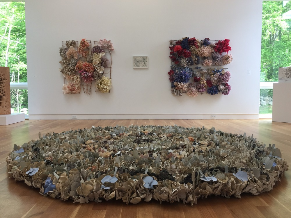 Green Round, Patters of Nature, 2015  Porcelain paper clay, handmade paper, and organic material, 12' diameter   $18,000