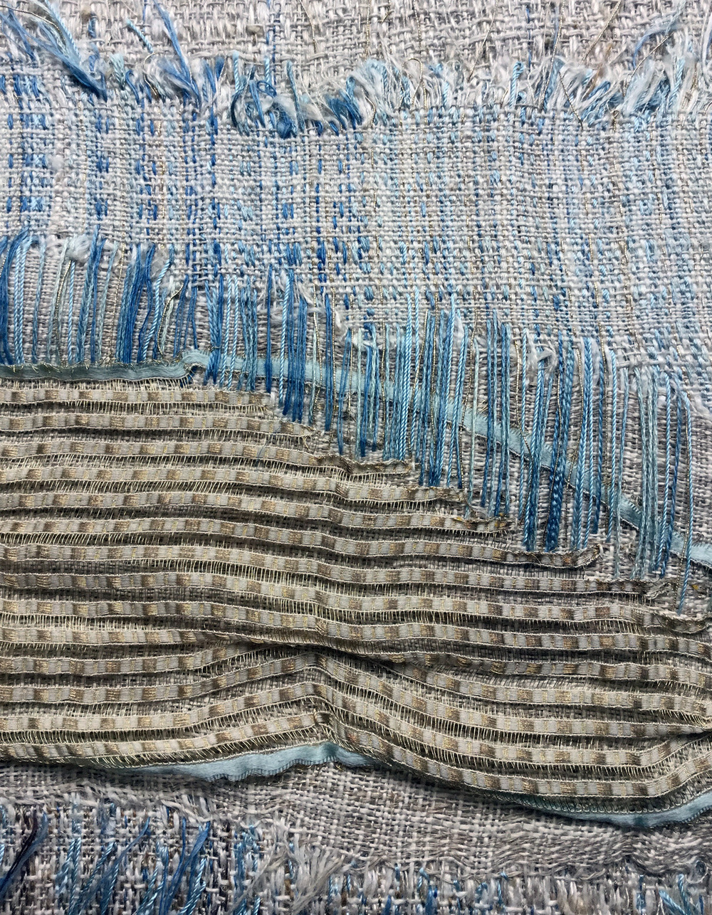 Paula Stebbins Becker  Dreaming of the Sea (detail), 2015  Linen, silk, cotton, metallic threads, vintage silk ribbon with framed vintage photograph  8.5 x 17 inches   $850