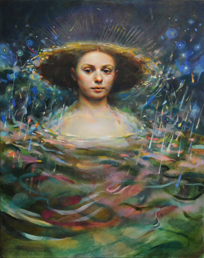 "Awakening in the Depths , 2015  30"" x 24,"" Oil on linen  $2800"