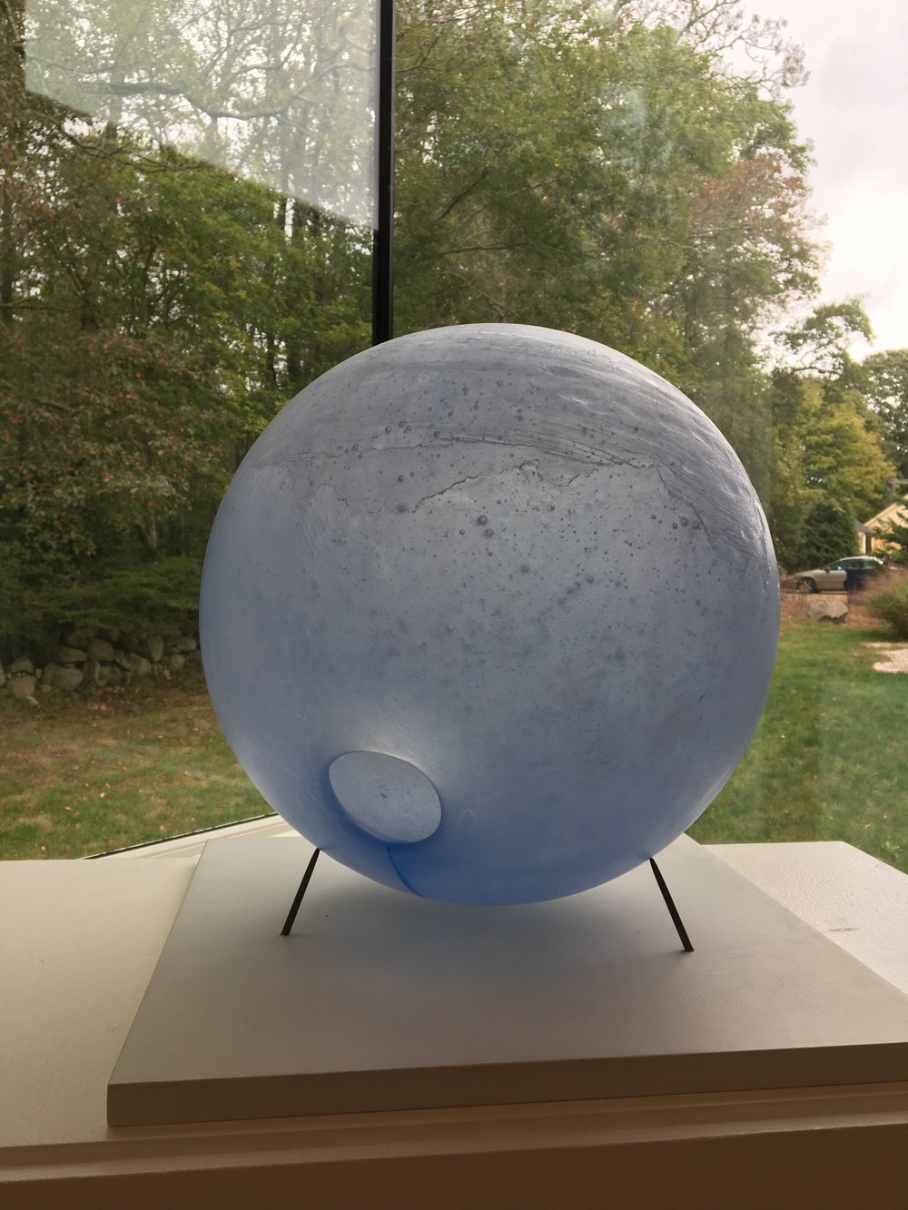 Sky  Kiln cast glass, glass sediment  13-inch diameter   $8500